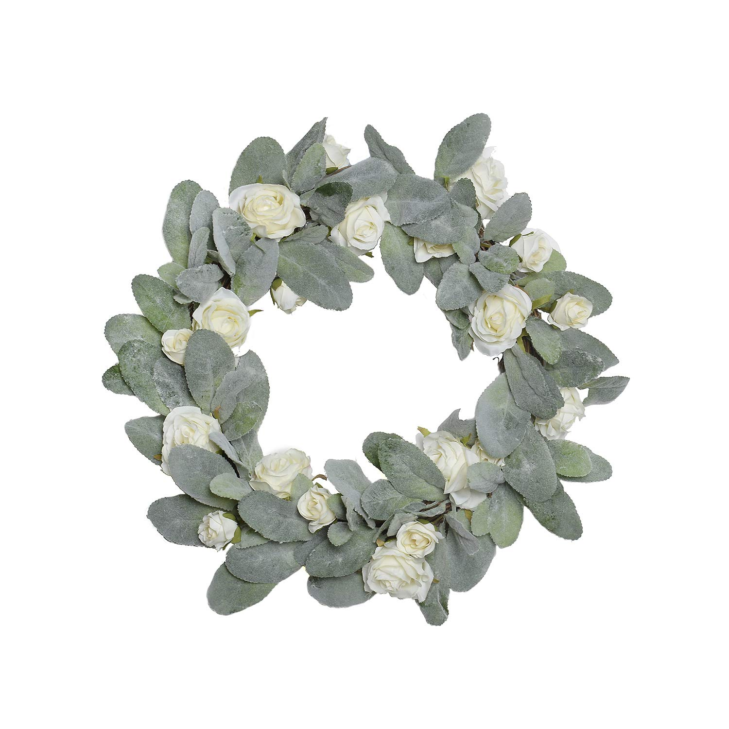 FAVOWREATH Vitality Series FAVO-W101 Handmade 15 inch Green Laurel/Eucalyptus Leaf,Roses Grapevine Wreath for Summer/Fall Festival Front Door/Wall/Fireplace Every Day Nearly Natural Home Hanger Decor