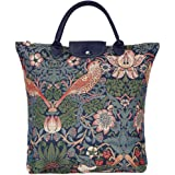Signare Tapestry Foldable Tote Bag Reusable Shopping Bag Grocery Bag with Floral William Morris Strawberry Thief Blue…