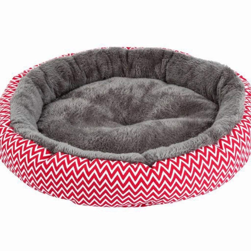 RED Round Kennel Super Soft Thick Teddy Kennel Geometric Print Pet Supplies (color   RED)