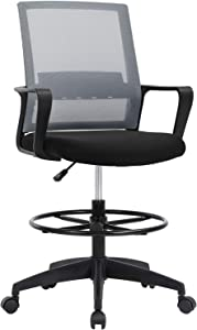Office Chair Desk Chair Computer Chair Adjustable Height with Lumbar Support Arms Footrest Mid Back Swivel Rolling Mesh Drafting Chair for Adults Drafting Stool(Grey)