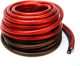 Power ground cable amazon 4 gauge 25 black and 25 red car audio power ground wire cable 50 greentooth