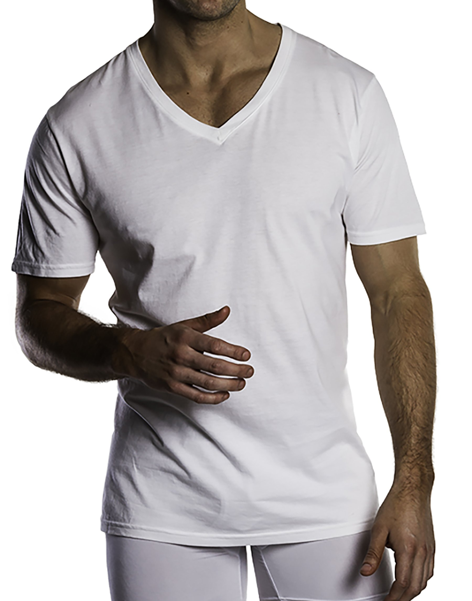 Michael Adams 5 Pack Men's Undershirt Tees, Breathable, Stretch Fabric, White