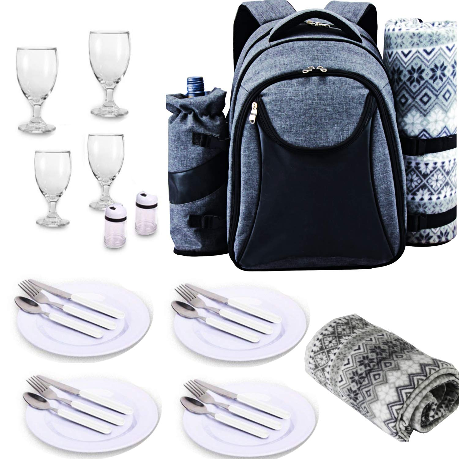 Scuddles Picnic Backpack Basket 4 Person Picnic Set Great Weddings Or Anniversary ((Model 1 Picnic Backpack) by Scuddles
