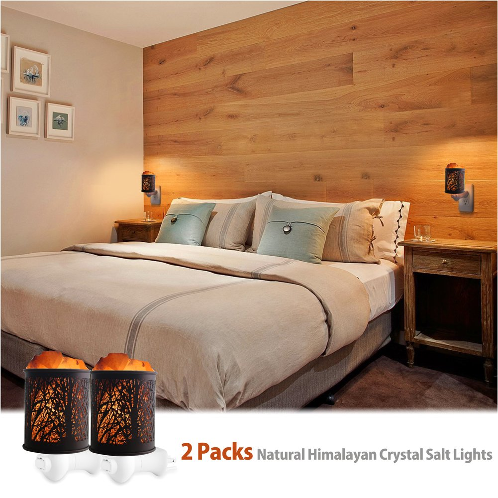 Natural Himalayan Salt Rock Lamp,Salt Night Light,Natural Himalayan Salt Rock Lamp,Mini Crystal Wall Light Night Lights,ETL Approved Wall Plug for Decoration and Lighting,2 Pack by Shineled (Image #5)