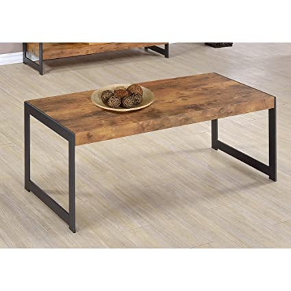 Coaster Home Furnishings Coffee Table With Metal Base Antique Nutmeg And  Gunmetal