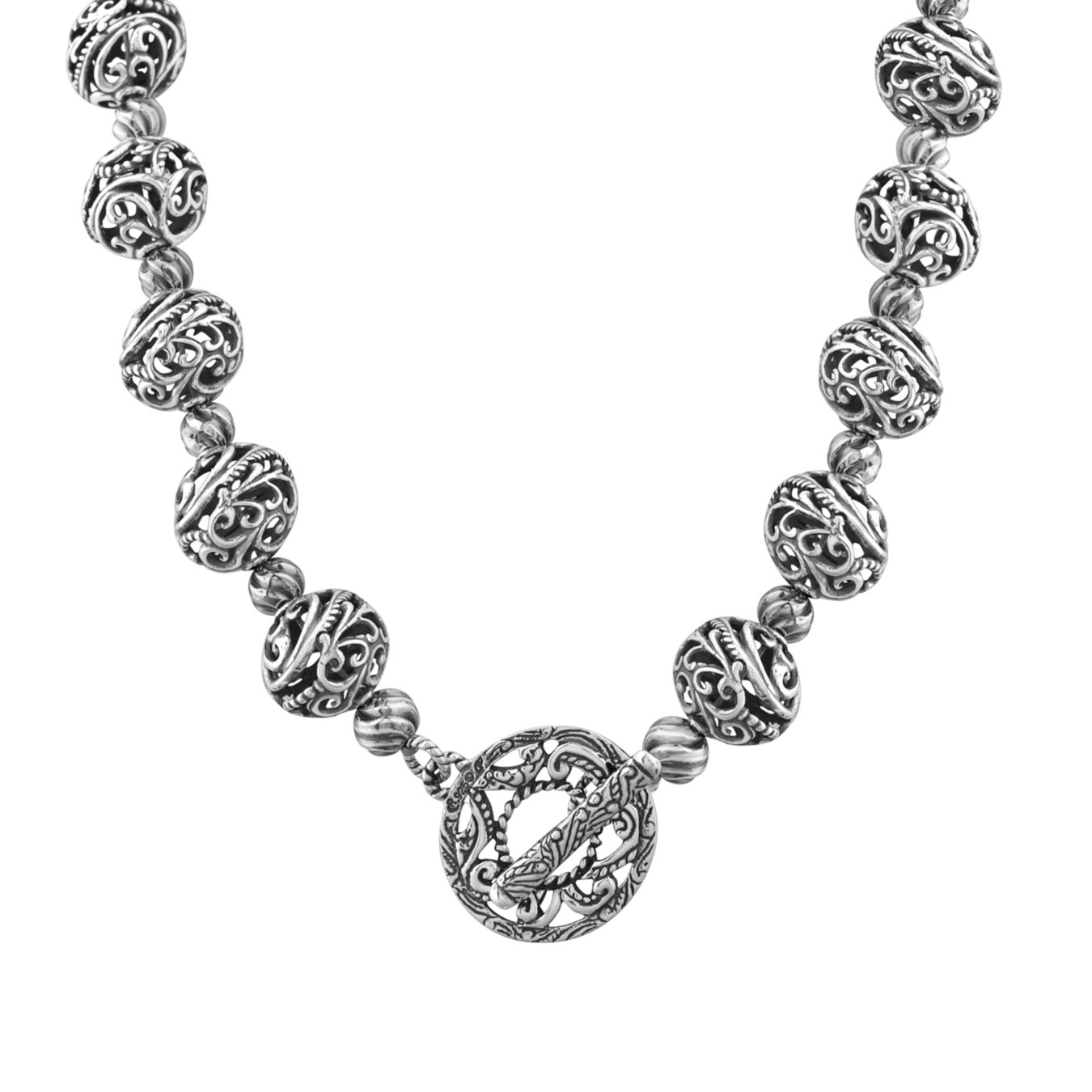 Carolyn Pollack Signature Sterling Silver Bead Toggle Necklace, 16''