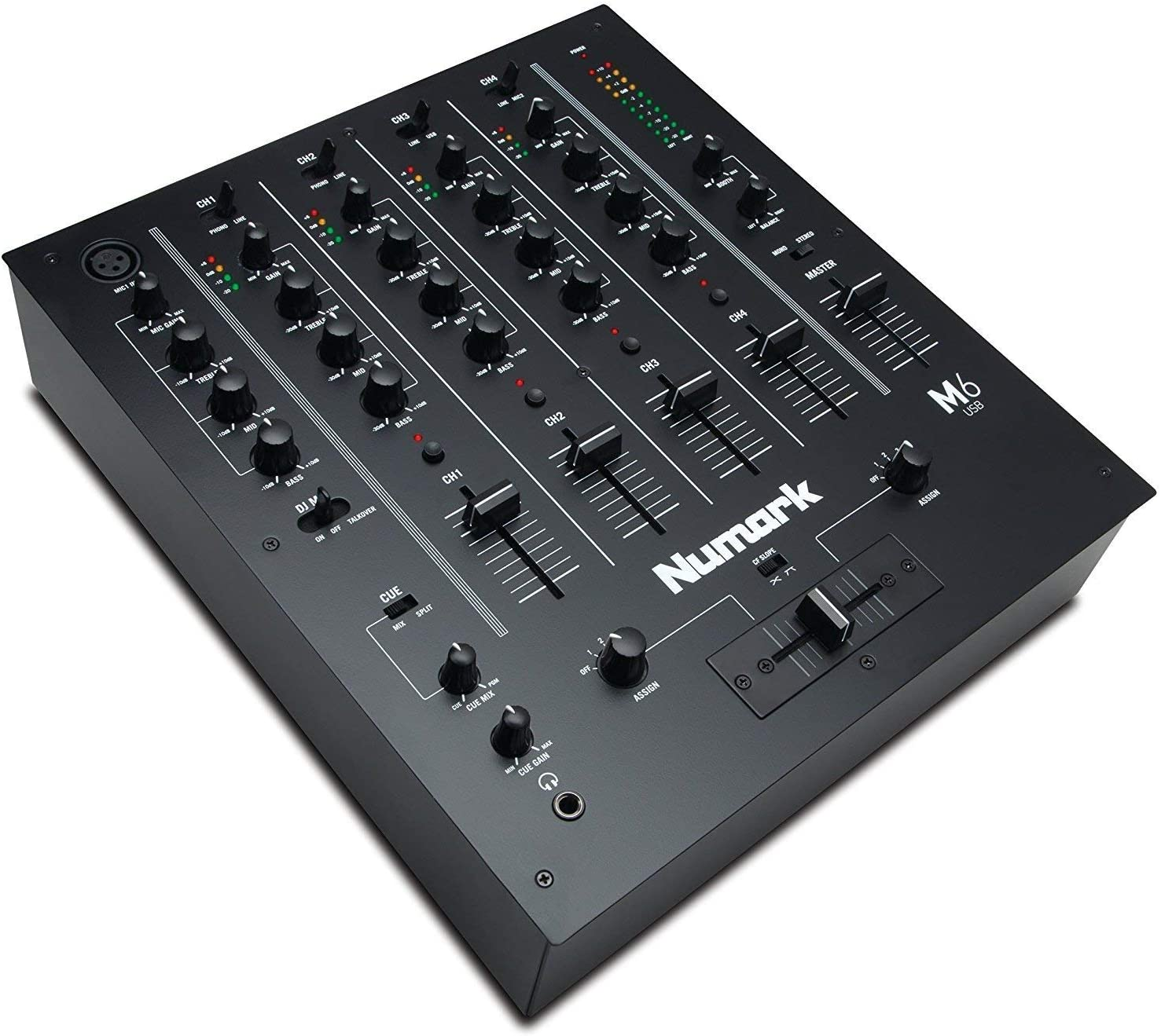 Numark M6 USB | 4-Channel DJ Mixer with On-Board Audio Interface, 3-Band EQ, Club-Ready Inputs, Microphone Input and Replaceable Crossfader with Slope Control