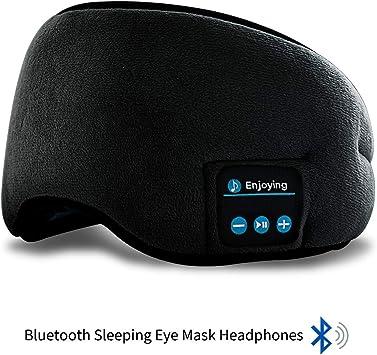 Birthday Gifts for Women Men Black Bluetooth Sleep Eye Mask Wireless Headphones TOPOINT Sleep Headphones Bluetooth 5.0 Eye Mask for Sleeping Travel Music Eye Cover with Microphone Handsfree