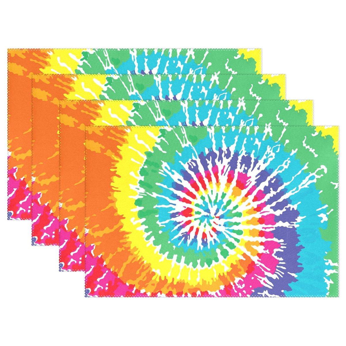 yochoiceヴィンテージレトロなカラフルTie Dye Rainbowプレースマットプレートホルダーのセット1、スタイリッシュなポリエステルテーブルの配置マットプロテクターキッチンダイニングルーム12