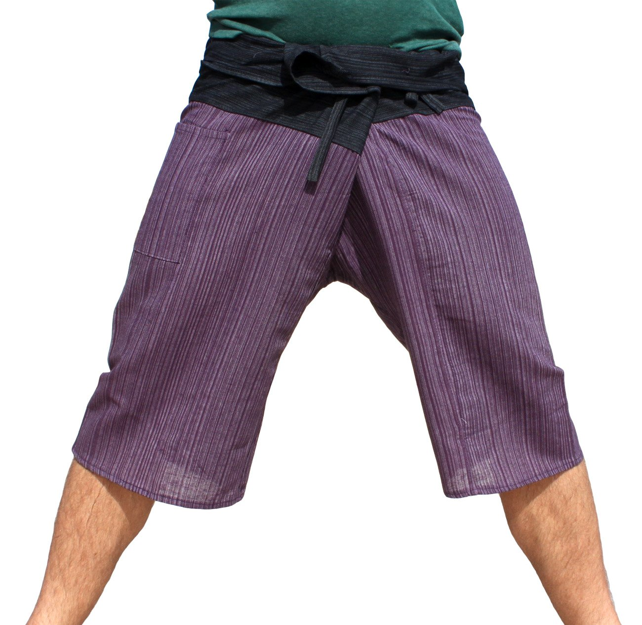Raan Pah Muang Thin Striped Cotton Two Tone Fisherman Capri Wrap Plus Sized Pants, XX-Large, Black and Dark Violet by Raan Pah Muang