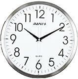 Arce's 33,02 cm reloj de pared, blanco cara con bisel cromado