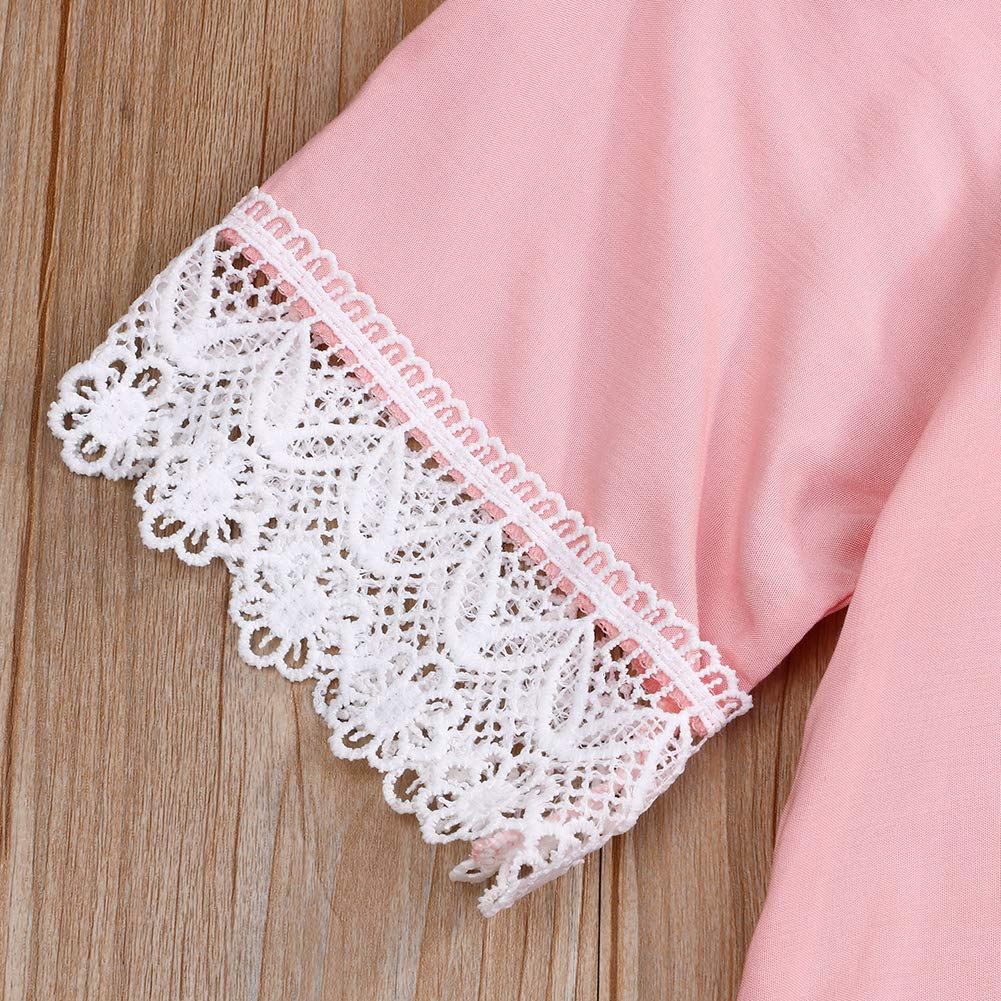 BabiBeauty Mommy and Me Family Matching Dress Short Sleeve Off Shoulder Solid Lace Mini Dresses