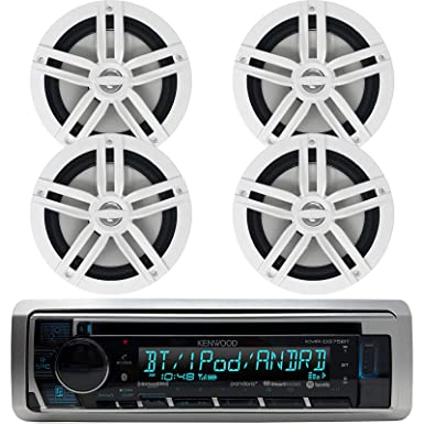 Kenwood Bluetooth Marine Radio Car ATV CD MP3 USB iPod iPhone Pandora Player 4 6.5 Inch Marine Speakers System – Outdoor Marine Audio Kit