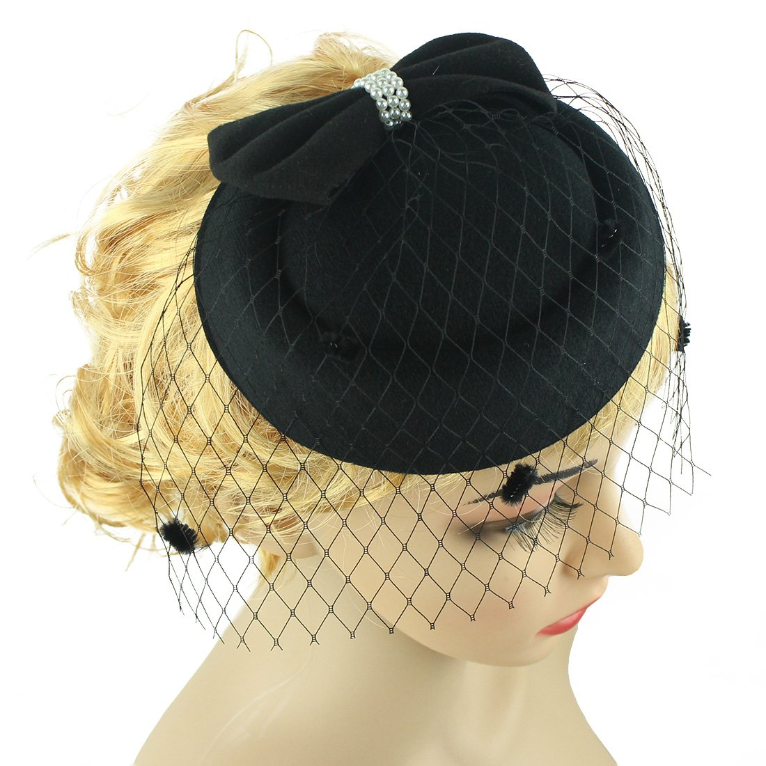0176544012c10e Fascinator Feather Fascinators for Women Pillbox Hat for Wedding Party Derby  Royal Banquet Black at Amazon Women's Clothing store: