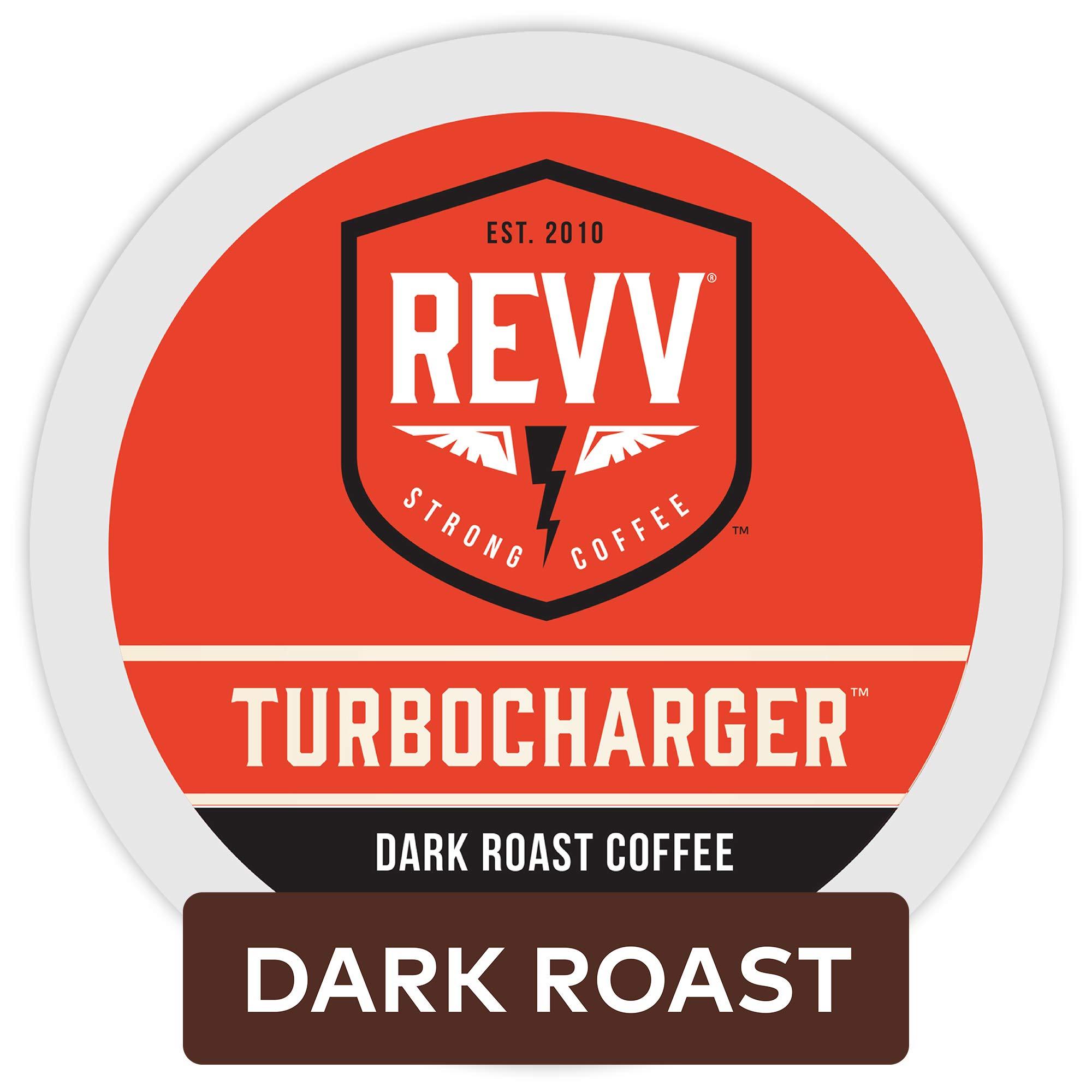 Revv Turbocharger, Single Serve Coffee K Cup Pods for Keurig Brewers, Dark Roast, 96Count