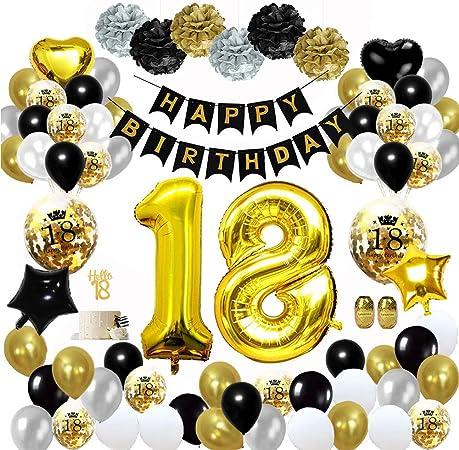 banni/ère joyeux anniversaire ballon h/élium chiffres 18 XXL iZoeL 18 ans d/éco anniversaire Or noir Rideau /à Franges Or noir confettis latex num/éro tableau deco confettis fille femmes