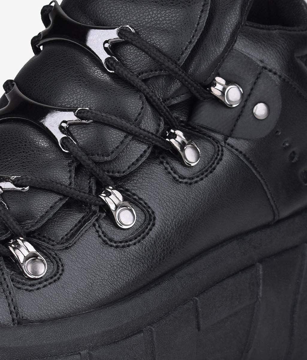 Bosanova Chaussures Plates Dentées Avec Détails De Trekking Sur Les Lacets Et Double Languette Pièces Métalliques Fermeture Pour Femme. Noir