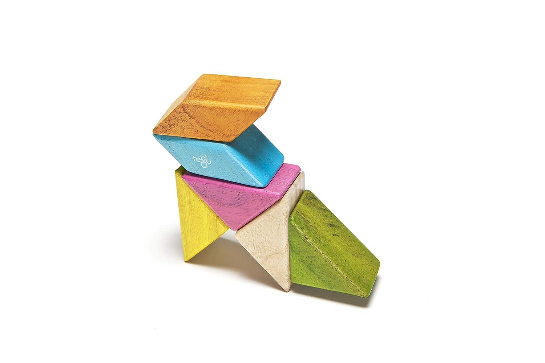 Bl/ühen 6 St/ück Tegu Taschenbeutel Prisma Magnetisches Holzblock-Set