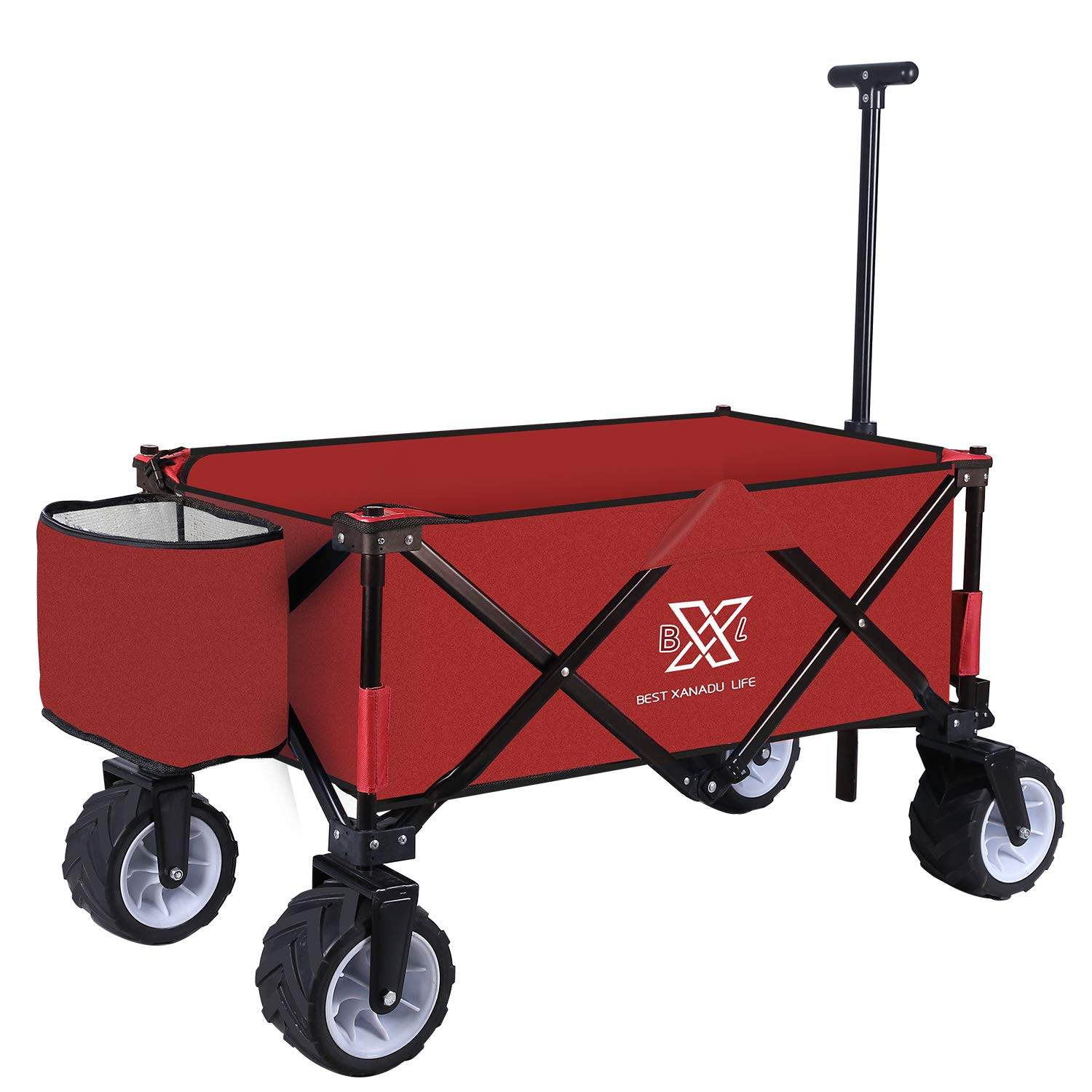 BXL Heavy Duty Collapsible Folding Garden Cart Utility Wagon for Shopping Outdoors Red