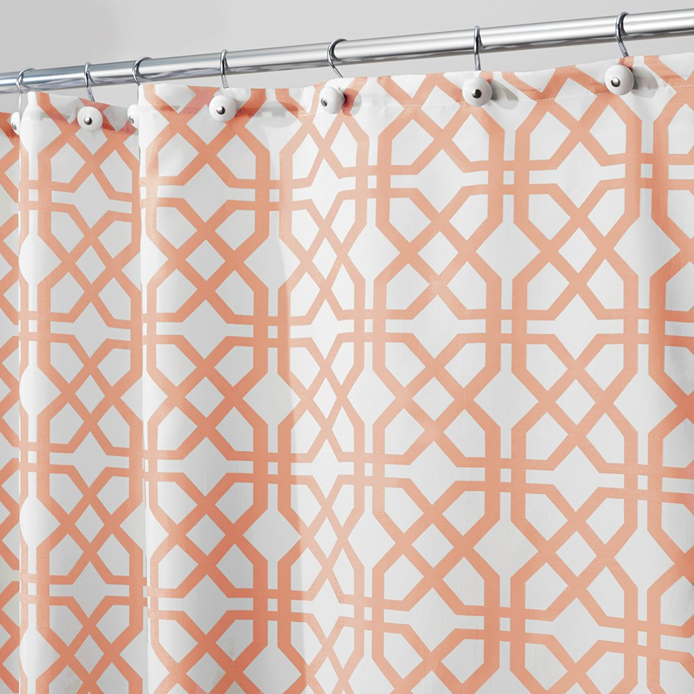 InterDesign Trellis Cortinas de ba/ño de tela Cortina de ba/ño de 183 cm x 183 cm Cortina de ducha para ba/ñera y ducha con estampado enrejado Poli/éster naranja
