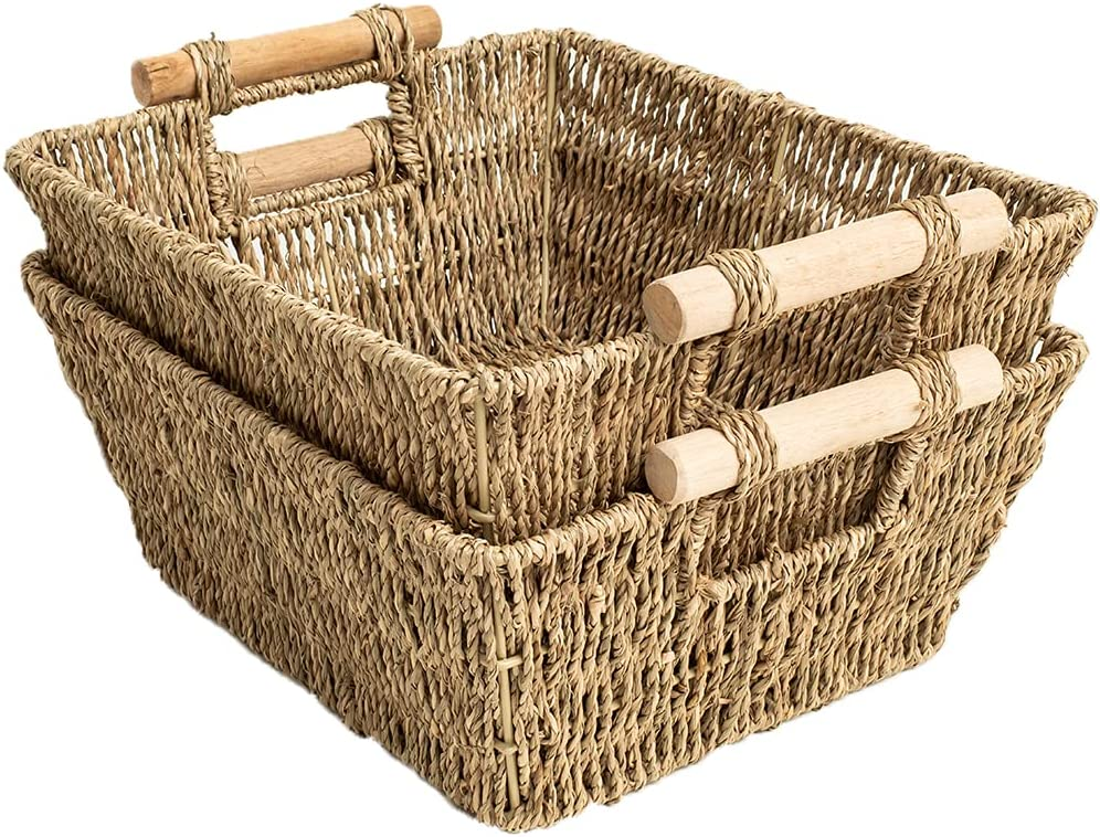 Hand Woven Wicker Storage Baskets, 2-Pack, Seagrass Shelf Baskets for Organizing & Sorting, Toilet Paper Towel Holder Basket with Wooden Handles, Iron frame, 11.8