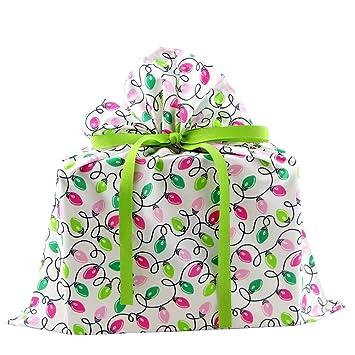 Amazon.com: Reusable Fabric Christmas Gift Bag with Retro Light ...