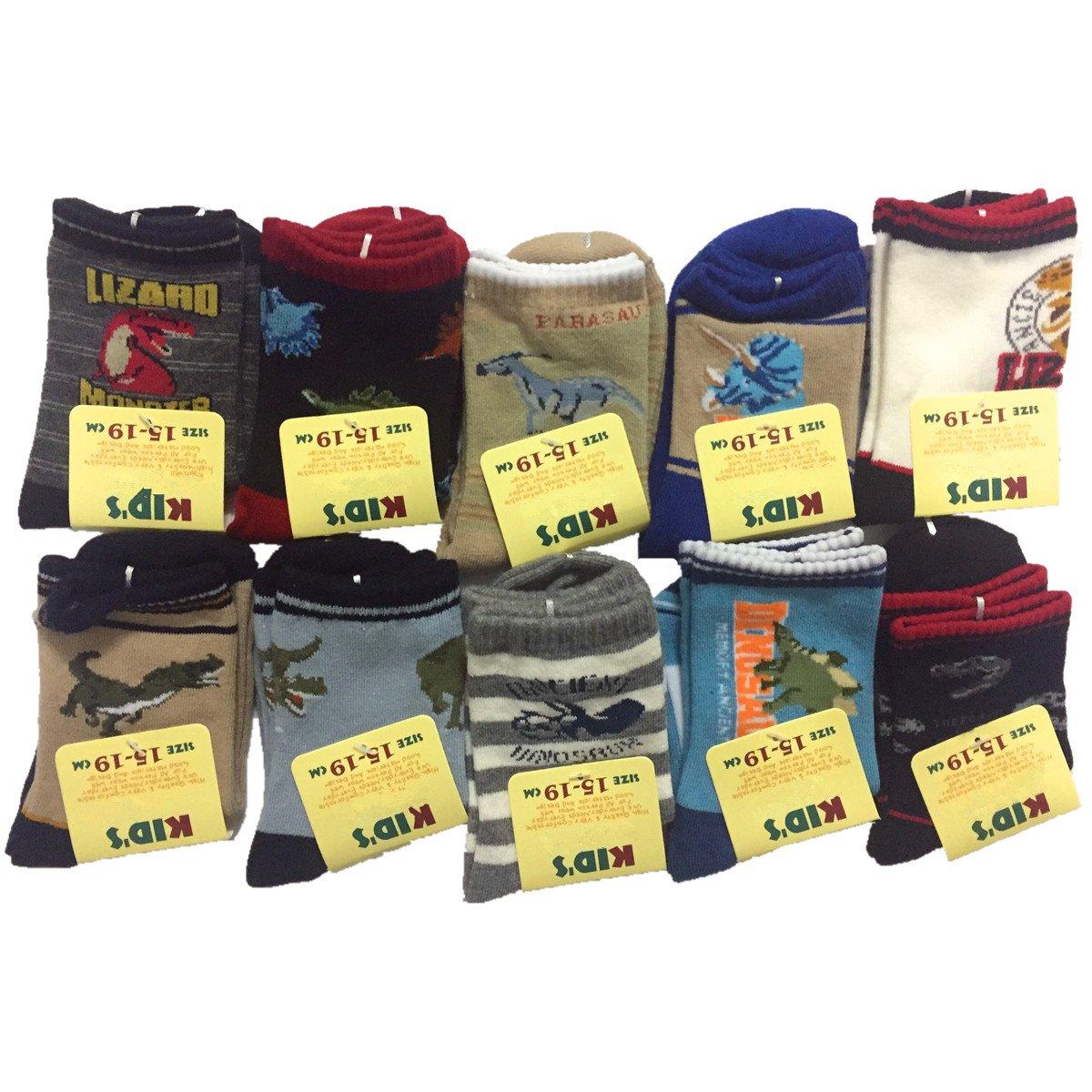 Boy's Dinosaur Style Children Cotton Sport Crew Kids Socks 10 Pairs CzBonjour