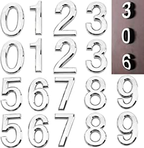 20 Pieces Self-Adhesive Door House Numbers Mailbox Numbers, 2.6Inch Address Number Stickers for Apartment Home Office Room, 3D Street Plaques Numbers (0-9), Shiny Silver