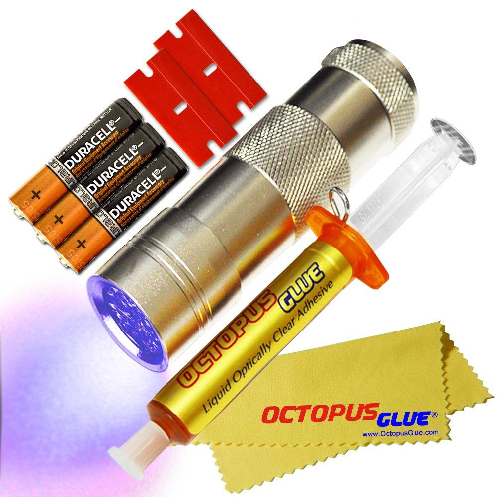 Octopus Glue - Liquid Optically Clear Adhesive (LOCA) - The ORIGINAL PREMIUM LOCA UV Glue (3 ml w/ UV LED Flashlight)