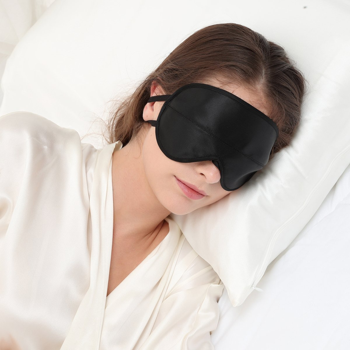 ALASKA BEAR® Natural silk sleep mask & blindfold, super-smooth eye mask (Two Straps, Contoured Cups)