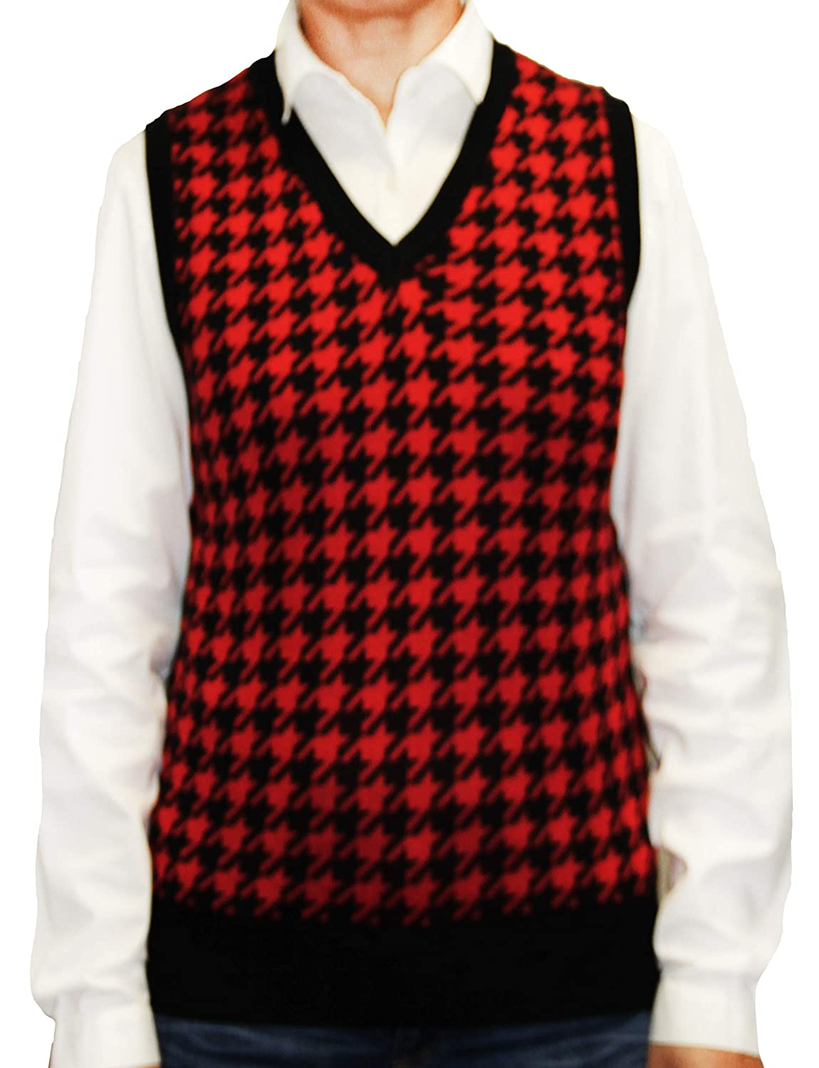 1920s Blouses & Shirts History Blue Ocean Ladies Houndstooth Sweater Vest $29.00 AT vintagedancer.com