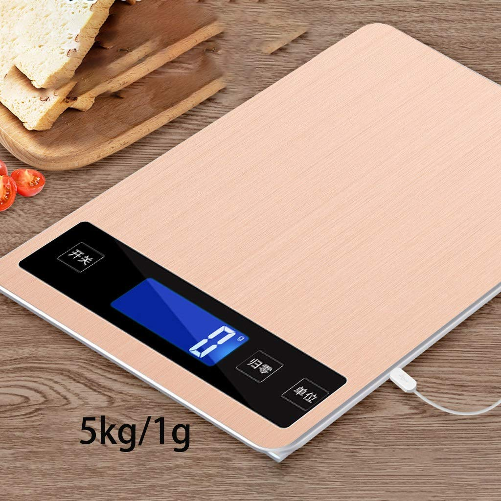 DOZ Waterproof Kitchen Scale Household Small Electronic Weighing 5kg10 Baking Gram high Precision Gram Weight Food Precision Small Scale (Color : Gold) by DOZ