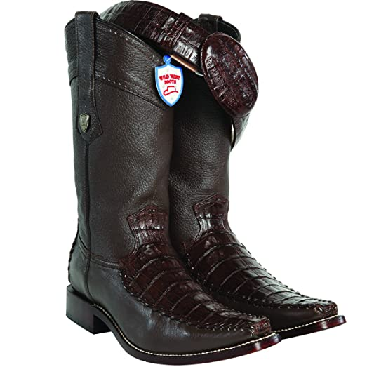 Men Wild West Square Toe Gator Belly and Deer Skin Boots