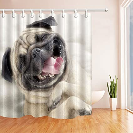 NYMB Animal Lover Lovely Happy Pug Dog Shower Curtain In Bath 69X70 Inches Mildew Resistant Polyester
