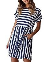 ChongXiao Women Striped Dress Casual Cute Short Sleeve O-Neck Mini Summer Dresses for Women