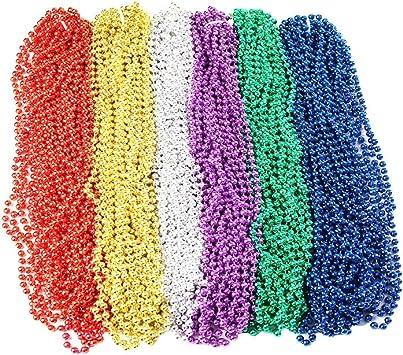 Oojami 144 Pieces 33 inch 07mm Metallic Multi Colors Mardi Gras Beads Beaded Necklace