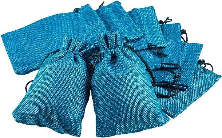 Imagen deBENECREAT 30 PCS Bolsas de Arpillera con Cordón Envase de Regalo Color Verde Oscuro para Fiesta Boda y Almacenamiento de Cosas Pequeñas 14x10cm