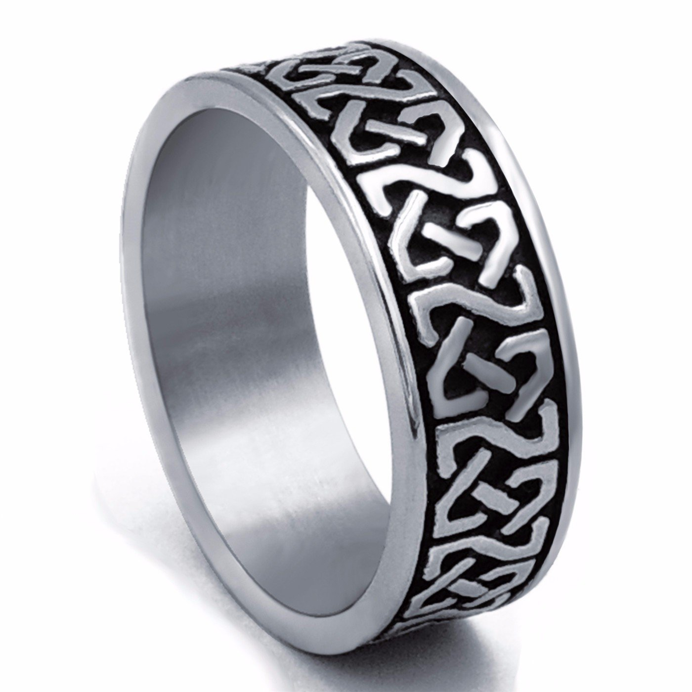 8mm Men's Celtic Knot Stainless Steel Ring Band Jewelry US Size 8-15 Elfasio