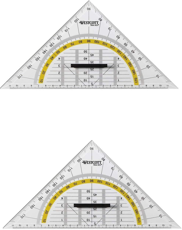 2 Stück Geodreieck Groß 25,0 cm mit Griff WESTCOTT Geometrie Dreieck