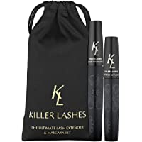 KL Killer Lashes Ultimate Fibre Lash Extender and Mascara | 9ml & 6ml Set | 3D Moonstruck Black Limited Edition - with Travel Pouch | Designed to Maximise Volume and Length