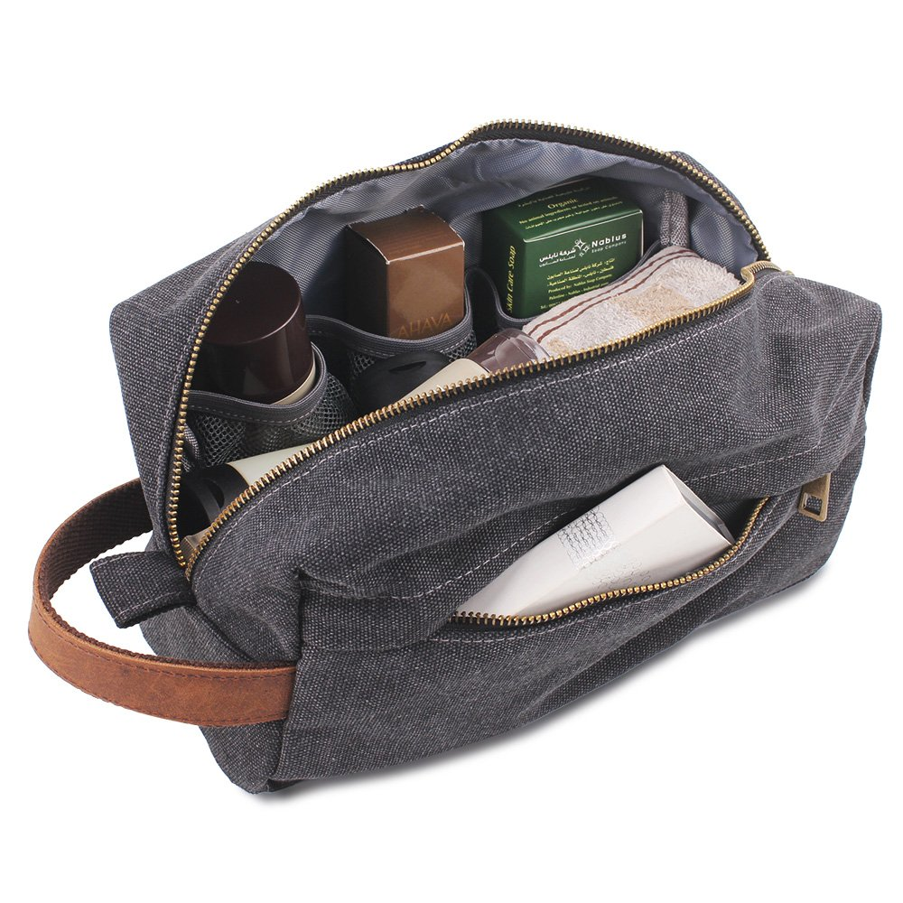 Canvas  Shaving  Dopp  Kits  Bag,   Waterproof  Travel Toiletry  Kits Bathroom Shower Bags Lucky Rain HDSD-2