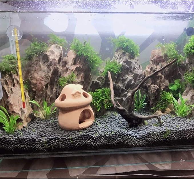 Balacoo Aquarium Ceramic Decorations Ornament Mushroom House Hideaway Fish Tank Hideout Habitat for Lizards,Betta,Turtles,Reptiles