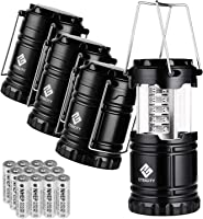 Etekcity 4 Pack Portable LED Camping Lantern Flashlight with 12 AA Batteries - Survival Kit for Emergency, Hurricane,...