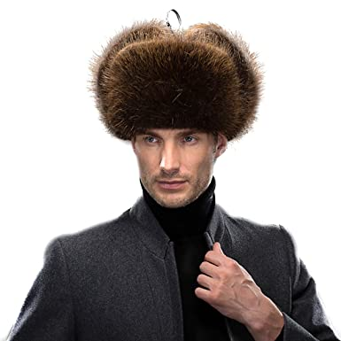 Amazon.com  URSFUR Men s Beaver Russian Trooper Hat Winter Fur Cap ... b329c1d8568