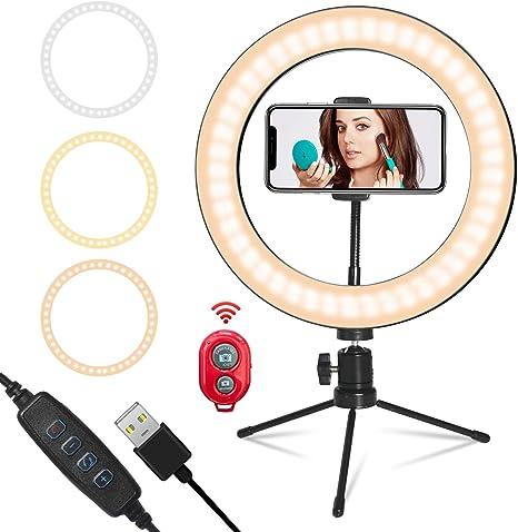 Lumburry Anillo de luz LED de 10 pulgadas, USB, regulable, con ...