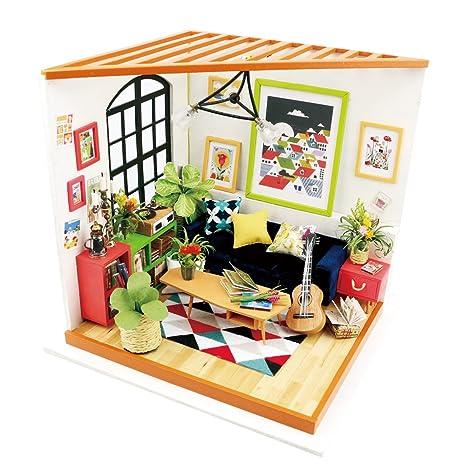 Amazon Com Robotime Miniature Dollhouse Kits Diy Toy House