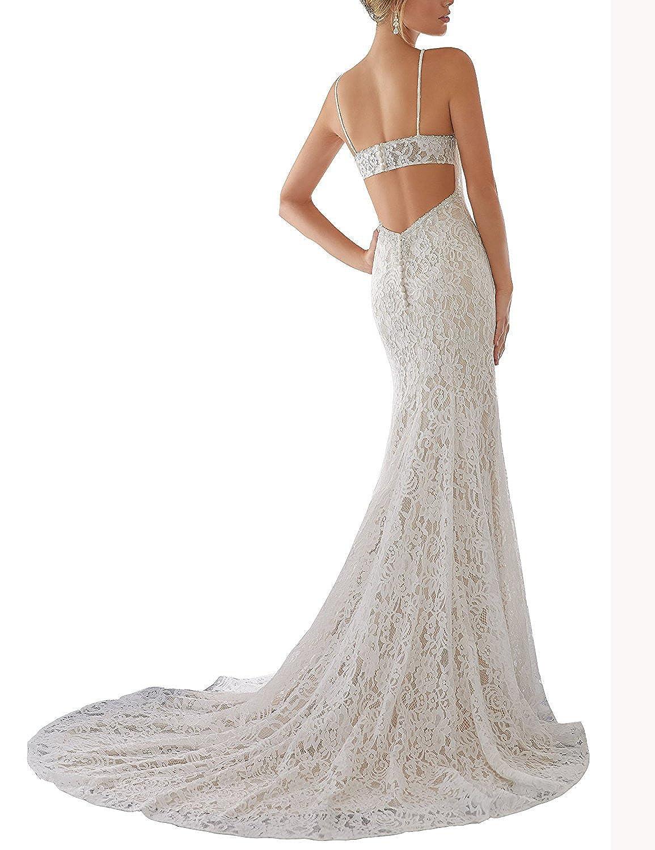 YinWen Womens V-Neck Spaghetti Straps Backless Beach Wedding Dress