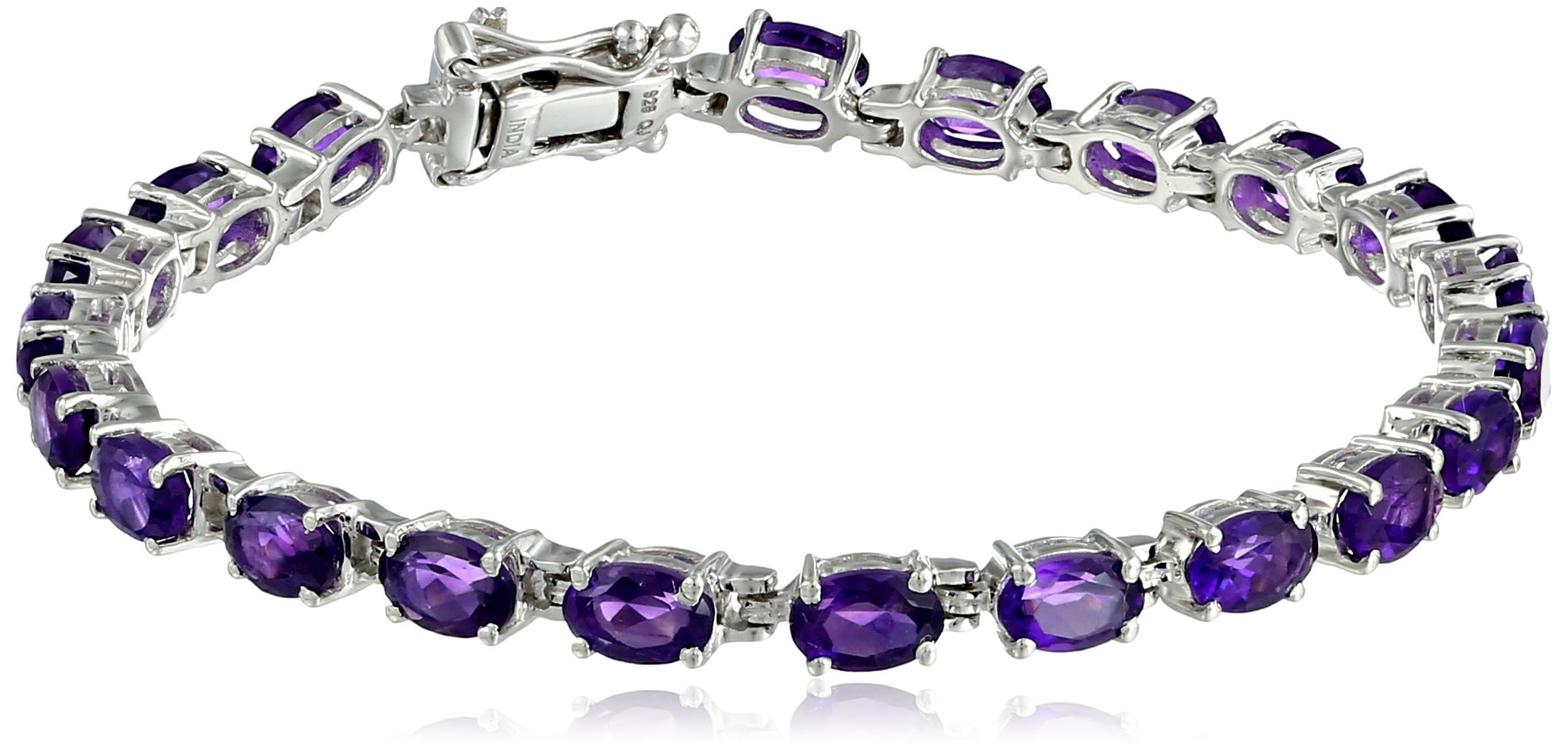 Amethyst Oval Cut Tennis Bracelet in Sterling Silver (9.4 cttw) by Amazon Collection