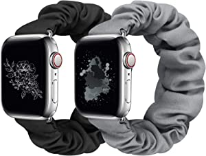 Huishang 2 PCS Scrunchie Apple Watch Band for Women, 38mm 40mm 42mm 44mm Apple Watch Bands, Cute Apple Watch Bands for Series 5/4/3/2/1 (S-38/40 Black+Gray)