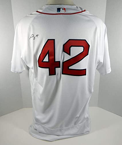 more photos 3f2a1 40dc2 2018 Boston Red Sox Andy Barkett #42 Game Used White Jackie ...